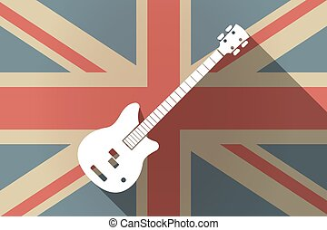 Long shadow UK flag with  a four string electric bass guitar