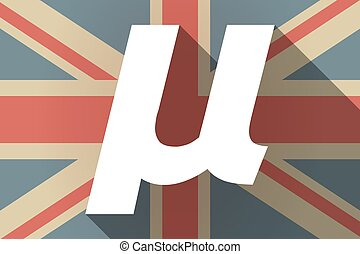 Long shadow UK flag with a micro sign, mu greek letter -...