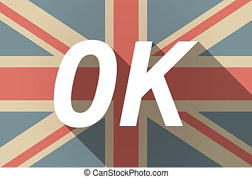 Long shadow UK flag with the text OK - Illustration of a...