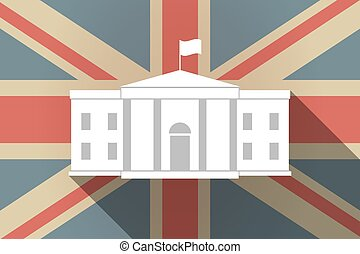 Long shadow UK flag with the White House building