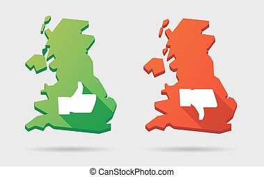 UK map icon set with thumb hands