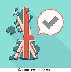 Long shadow UK map with a check mark - Illustration of a...