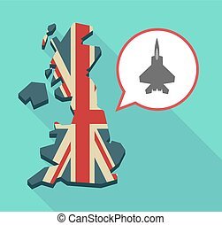Long shadow UK map with a combat plane