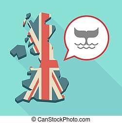 Long shadow United Kingdom map with a comic balloon and a whale tail