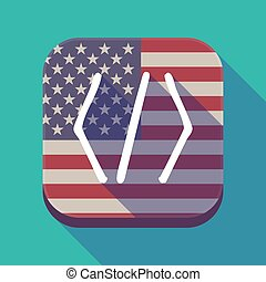 Long shadow USA app button with a code sign