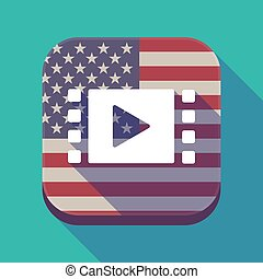 Long shadow USA app button with a multimedia sign