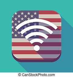 Long shadow USA app button with a radio signal sign