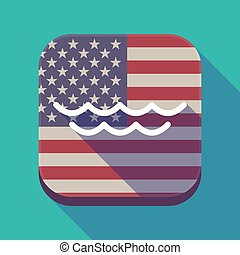 Long shadow USA app button with a water sign