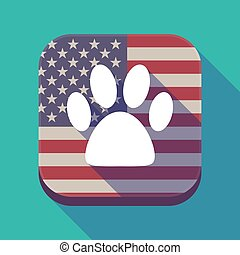 Long shadow USA app button with an animal footprint