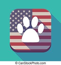 Long shadow USA app button with an animal footprint