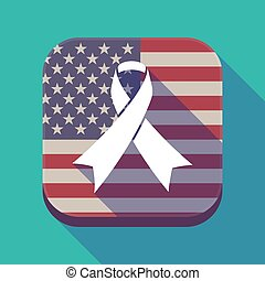 Long shadow USA app button with an awareness ribbon