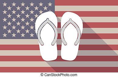 Long shadow USA flag icon with    a pair of flops