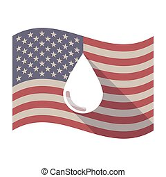 Long shadow USA flag with a blood drop