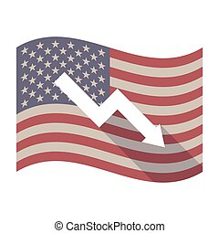 Long shadow USA flag with a descending graph