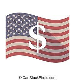Long shadow USA flag with a dollar sign
