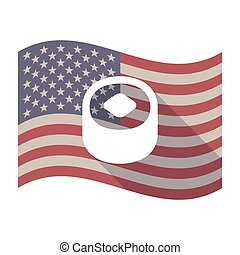 Long shadow USA flag with a piece of sushi