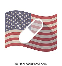 Long shadow USA flag with a pill