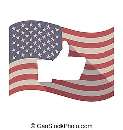 Long shadow USA flag with a thumb up hand