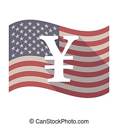Long shadow USA flag with a yen sign