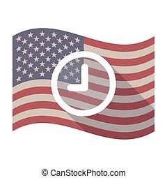 Long shadow USA flag with