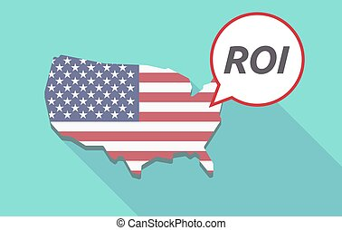 Long shadow USA map with    the return of investment acronym ROI