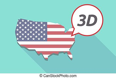 Long shadow USA map with    the text 3D
