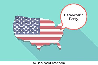 Long shadow USA map with  the text Democratic  Party
