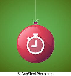 Long shadow vector christmas ball icon with a timer
