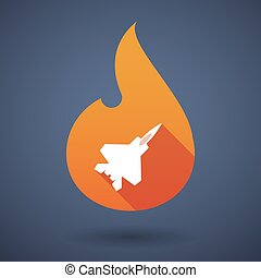 Long shadow vector flame icon with a combat plane