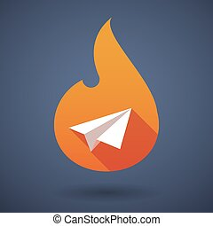 Long shadow vector flame icon with a paper plane