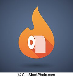 Long shadow vector flame icon with
