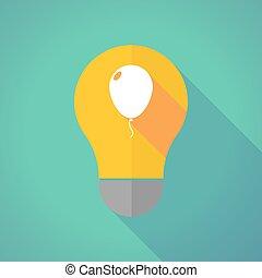 Long shadow vector light bulb with a balloon