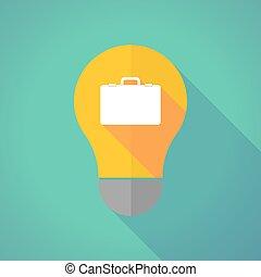 Long shadow vector light bulb with  a breiefcase