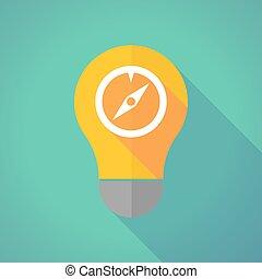 Long shadow vector light bulb with a compass