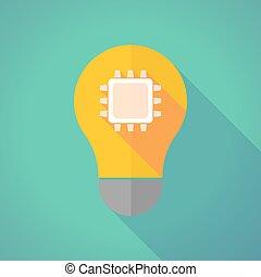 Long shadow vector light bulb with a cpu