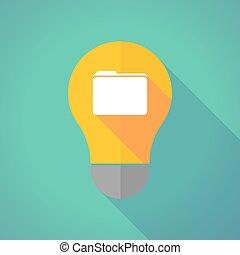 Long shadow vector light bulb with a folder