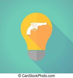 Long shadow vector light bulb with a gun