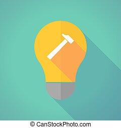 Long shadow vector light bulb with a hammer