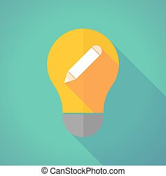 Long shadow vector light bulb with a pencil
