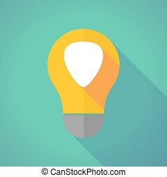 Long shadow vector light bulb with a plectrum