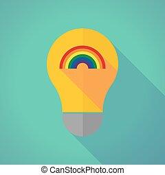 Long shadow vector light bulb with a rainbow