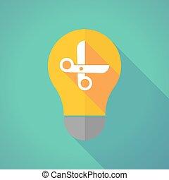 Long shadow vector light bulb with a scissors