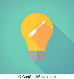 Long shadow vector light bulb with a screwdriver