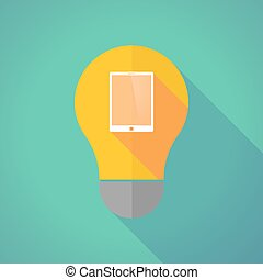 Long shadow vector light bulb with a tablet computer