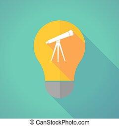 Long shadow vector light bulb with a telescope