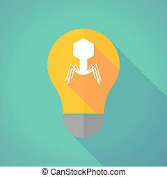 Long shadow vector light bulb with a virus