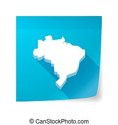 Long shadow vector sticky note icon with a map of Brazil