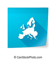 Long shadow vector sticky note icon with a map of Europe
