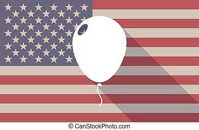 Long shadow vector USA flag icon with a balloon