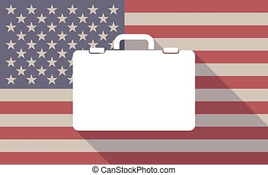Long shadow vector USA flag icon with  a breiefcase